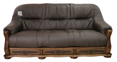 Belgium Storage Drawer Genuine Italian Leather 3 Seater Sofa Settee Chocolate Brown