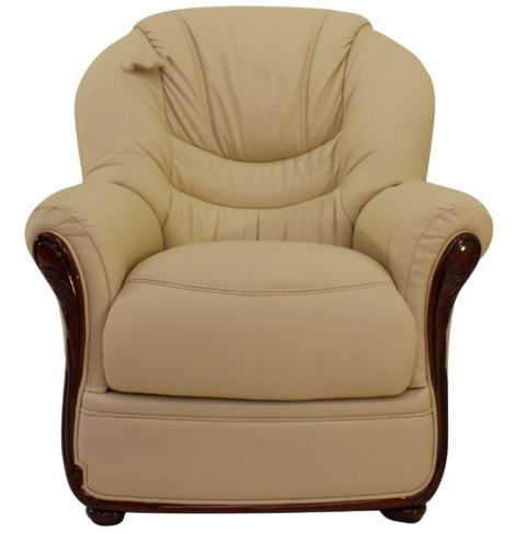 Florence Genuine Italian Sofa Armchair Cream Leather
