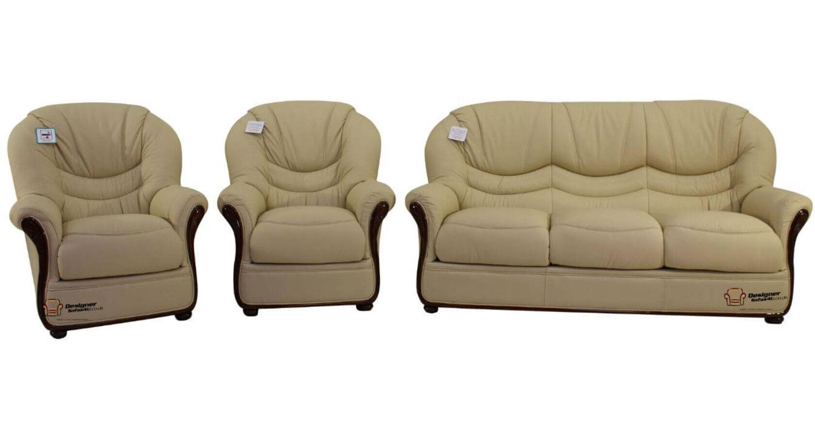 Colorado 3+1+1 Genuine Italian Cream Leather Sofa Suite