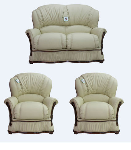 Bologna 2+1+1 Seater Genuine Italian Cream Leather Sofa Suite Offer