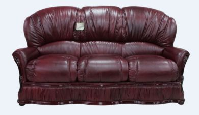Bologna 3 Seater Genuine Italian Burgandy Leather Sofa Offer
