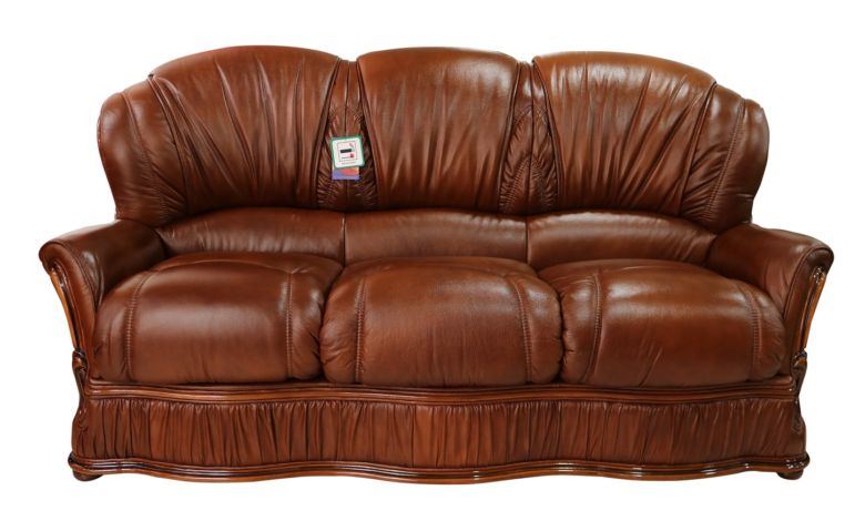 Bologna 3 Seater Genuine Italian Tabak Brown Leather Sofa Offer