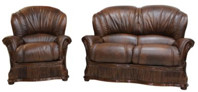 Delaware 2+1 Seater Genuine Italian Tabak Brown Leather Sofa Suite Offer
