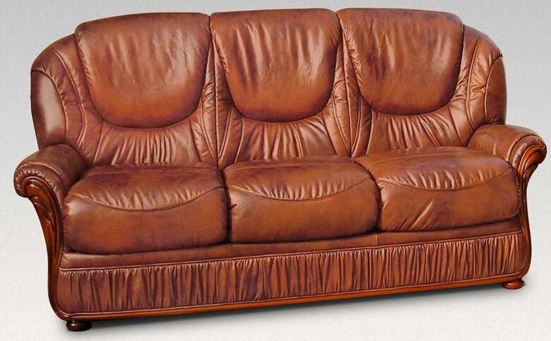 Florida 3 Seater Genuine Italian Tan Leather Sofa Suite Offer