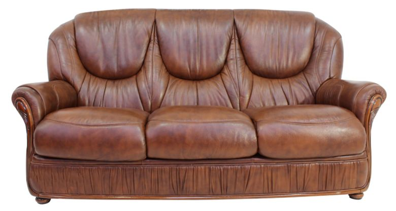 Genoa 3 Seater Genuine Italian Tabak Brown Leather Sofa Suite Offer