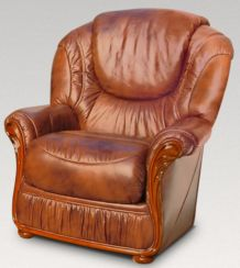 Genoa Armchair Genuine Italian Tabak Brown Leather Sofa Offer