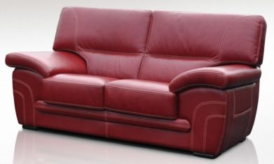 Naples 2 Seater Genuine Italian Red Leather Sofa Offer