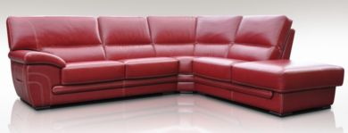 Cerise 3 + Corner + 1 Genuine Italian Red Leather Corner Sofa Group Suite Offer