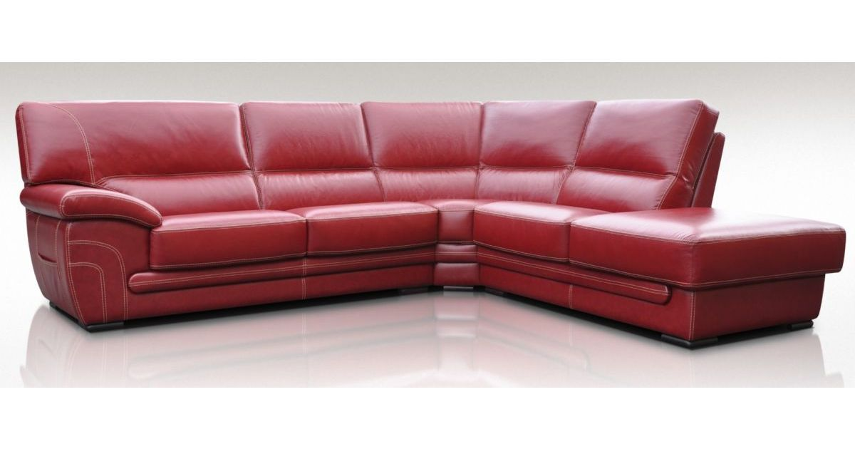 Georgia 3 + Corner + 1 Genuine Italian Red Leather Corner Sofa Group Suite  Offer, Leather Sofas, Fabric Sofas