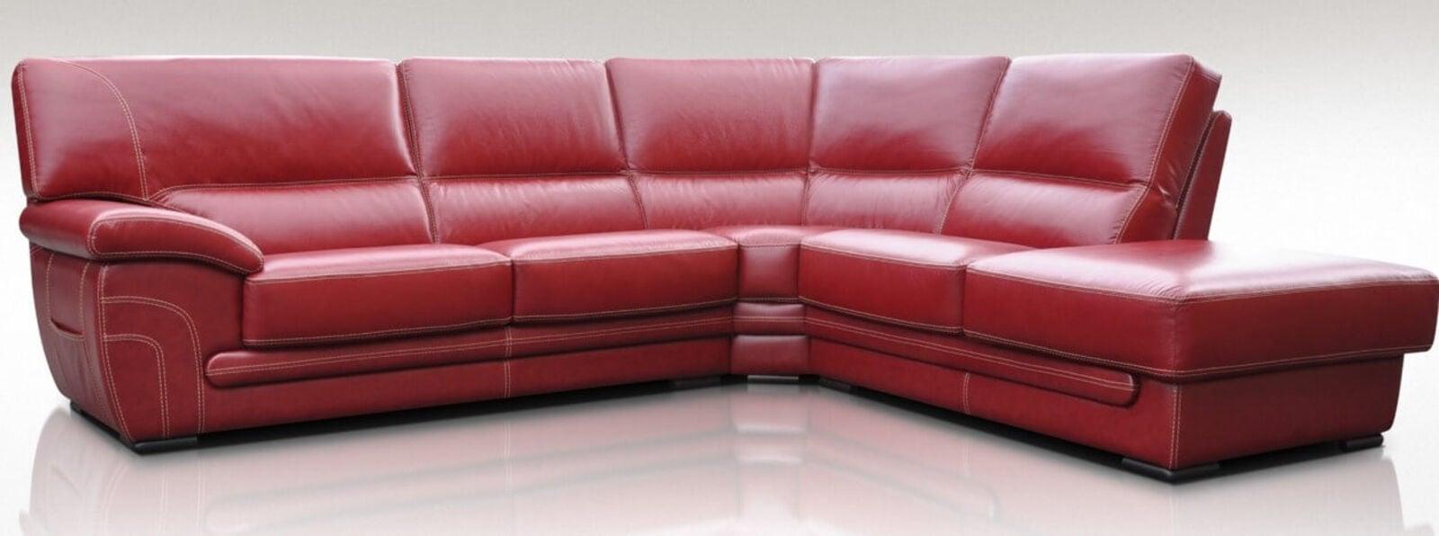 Naples 3 + Corner + 1 Genuine Italian Red Leather Corner Sofa Group Suite  Offer