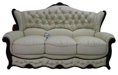 Christina 3 Seater Genuine Italian Leather Cream Sofa Settee Offer