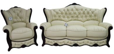 Christina 3 Seater + Armchair Genuine Italian Leather Cream Sofa Settee Offer