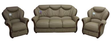 Colleen 3 Seater + Armchair + Armchair Italian Coffee Milk Leather Sofa Suite Offer