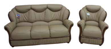 Colleen 3 Seater + Armchair Italian Coffee Milk Leather Sofa Suite Offer