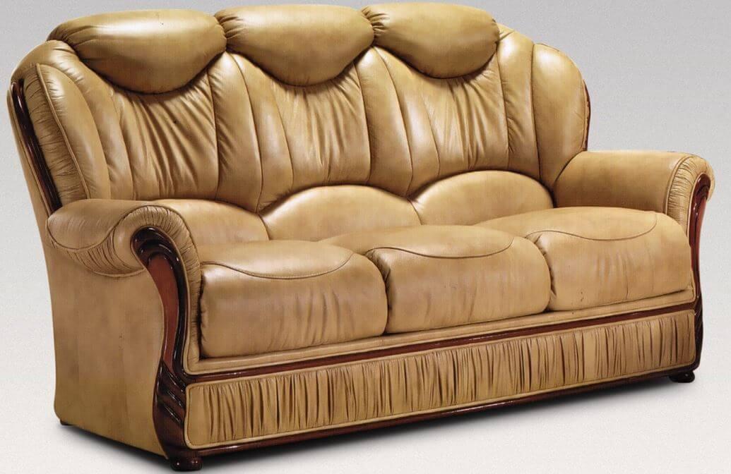 Hawaii 3 Seater Genuine Italian Nut Leather Sofa Settee Offer