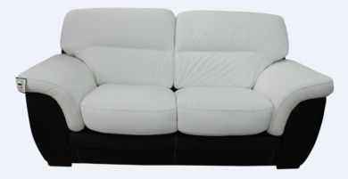 Daniel 2 Seater Italian Leather Contemporary Sofa Black White