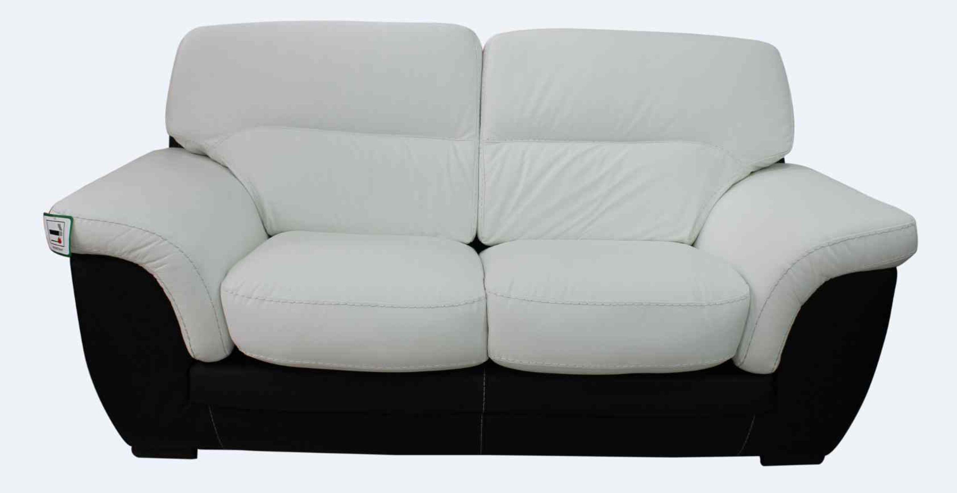 - Italian Daniel Leather 2 Seater Contemporary Sofa Black White