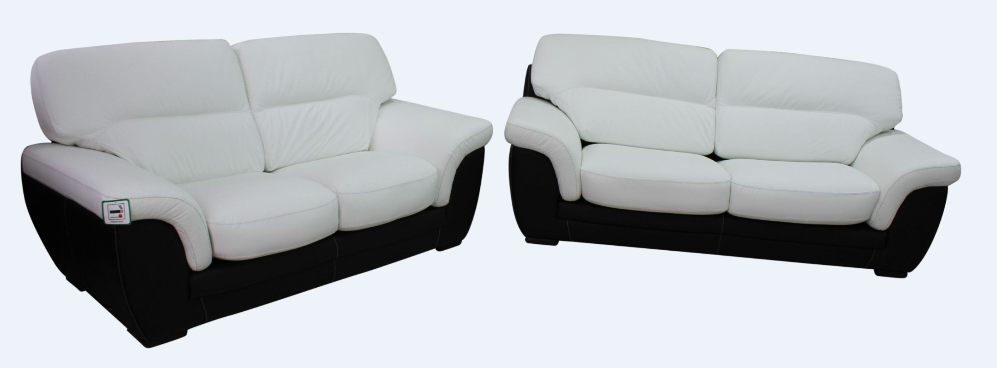 Daniel 3+2 Contemporary Italian Leather Sofa Suite Black White