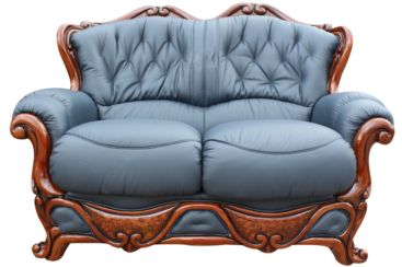Dante 2 Seater Italian Leather Sofa Settee Offer Blue