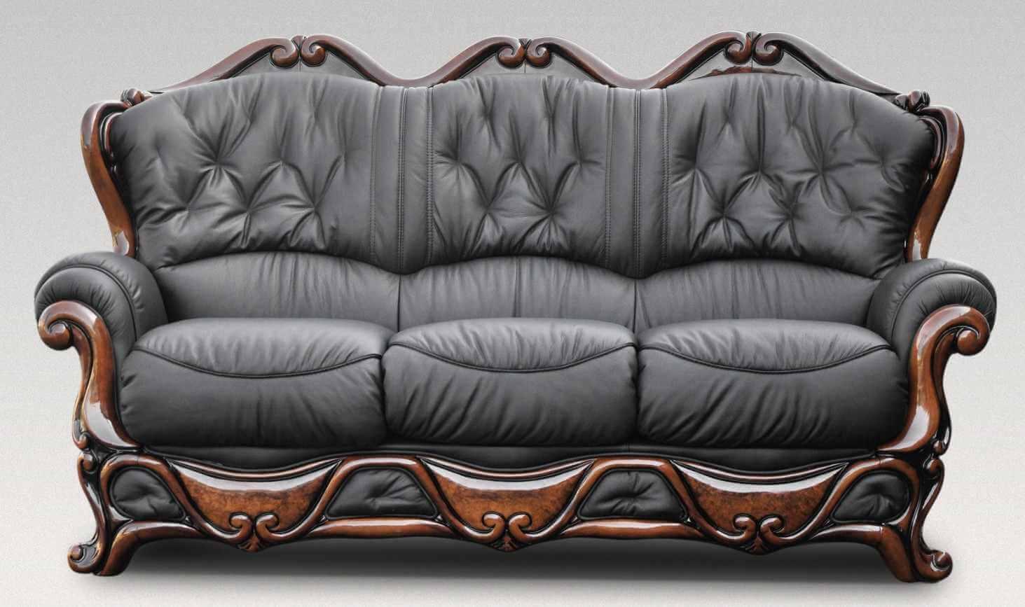 Illinois 3 Seater Italian Leather Sofa Settee Offer Black