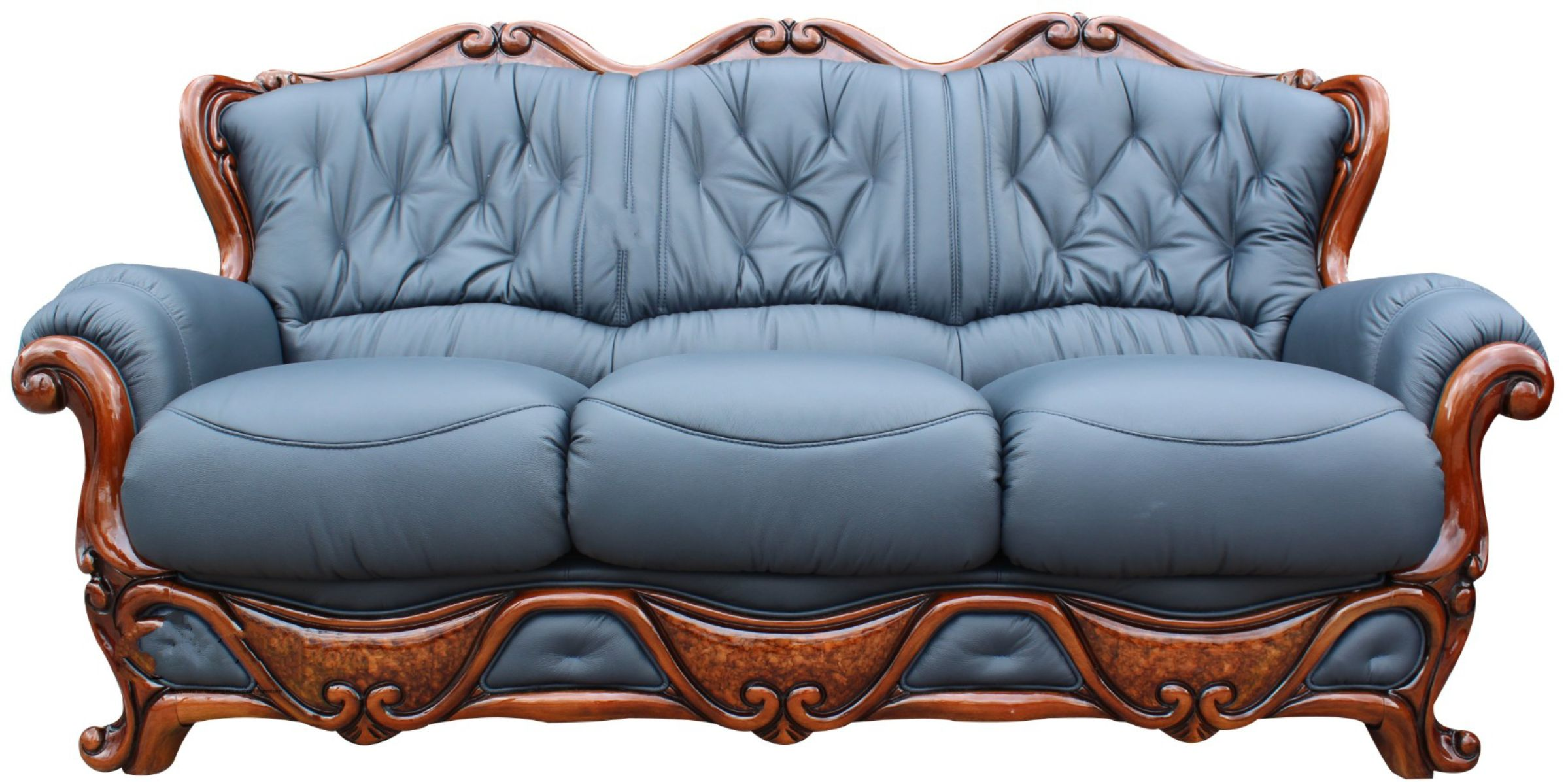 Dante 3 Seater Italian Leather Sofa Settee Offer Blue