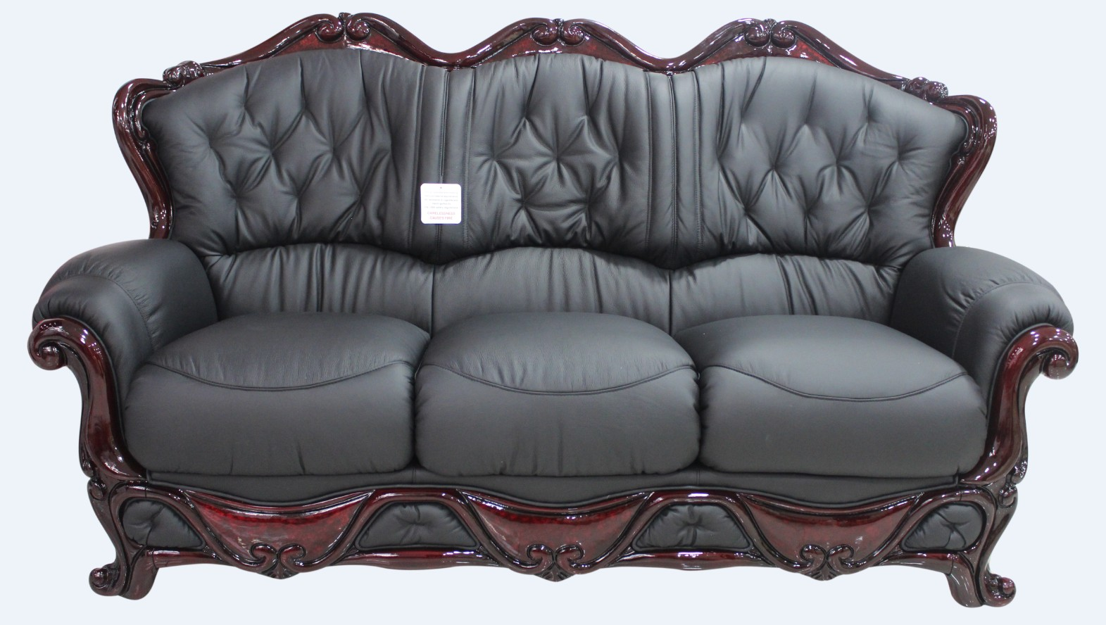 Dante 3 Seater Italian Leather Sofa Settee Offer Black