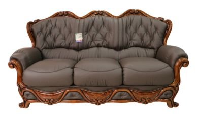 Dante 3 Seater Italian Leather Sofa Settee Offer Chocolate Brown