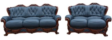 Dante 3 Seater + 2 Seater Italian Leather Sofa Settee Suite Blue Offer