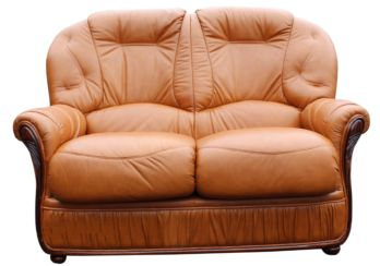 Debora Genuine Italian Leather 2 Seater Sofa Settee Tan