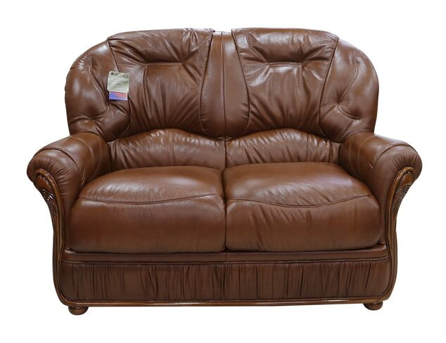 Debora Genuine Italian Leather 2 Seater Sofa Settee Tabak Brown