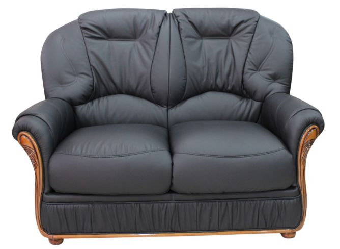 Mars Range Genuine Italian Leather 2 Seater Sofa Settee Black