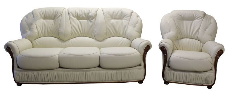Debora 3 Seater + Armchair Genuine Italian Cream Leather Sofa Suite Offer