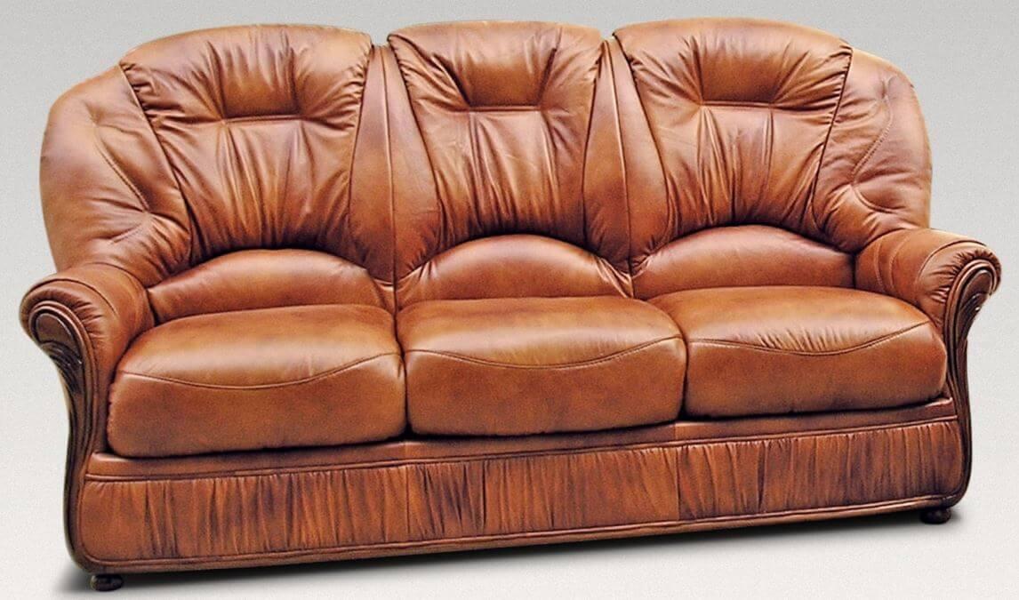 Debora Genuine Italian Leather 3 Seater Sofa Settee Tan