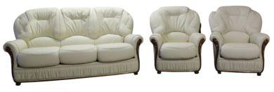 Debora 3+1+1 Genuine Italian Cream Leather Sofa Suite Offer
