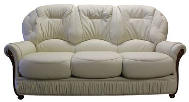Debora Genuine Italian Leather 3 Seater Sofa Settee Cream