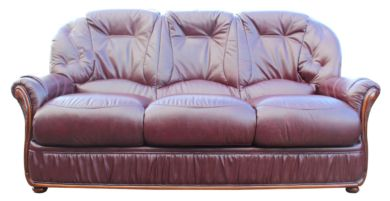 Debora Genuine Italian Leather 3 Seater Sofa Settee Burgundy