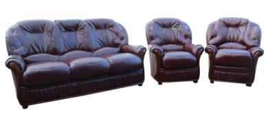 Debora 3+1+1 Genuine Italian Burgundy Leather Sofa Suite Offer