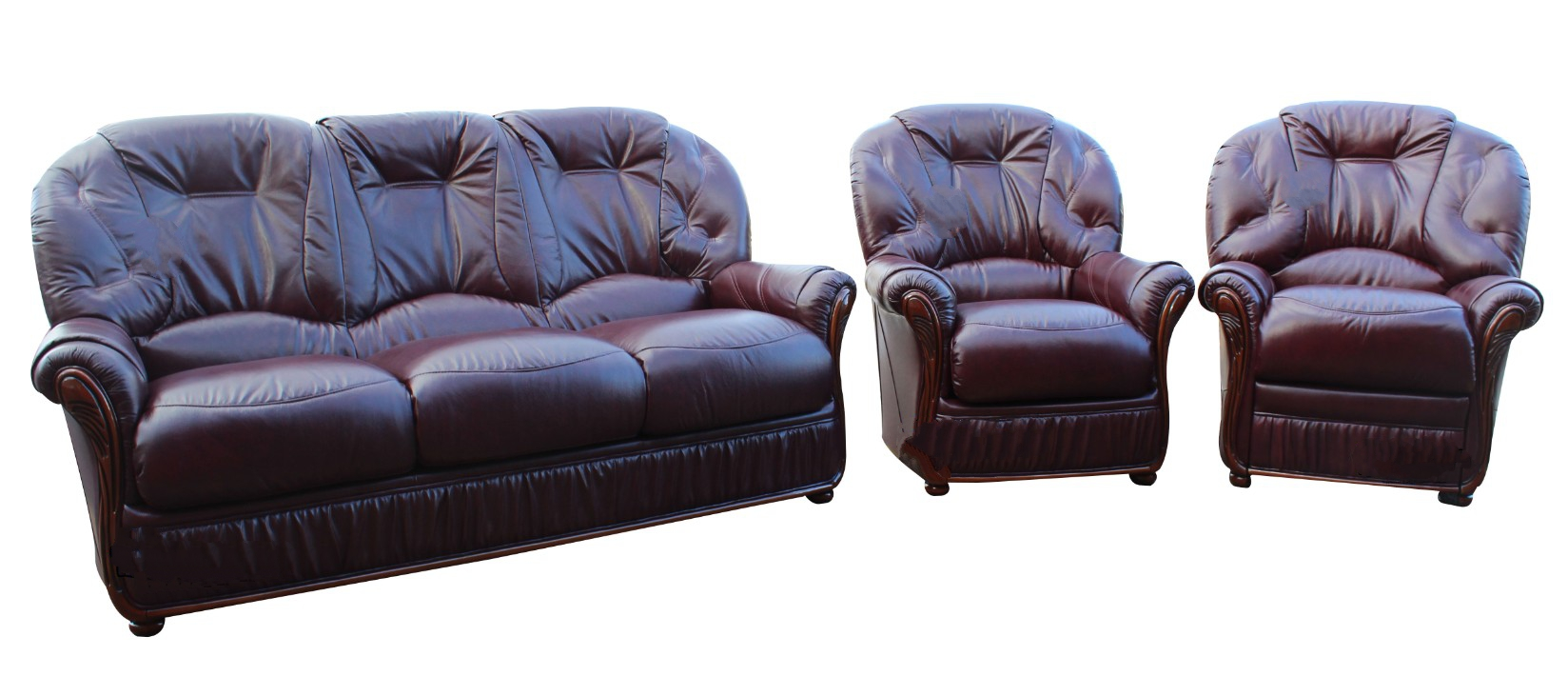Dante 2 Piece Italian Leather Sofa Suite Nut