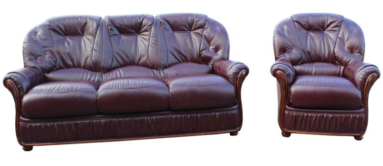 Debora 3 Seater + Armchair Genuine Italian Burgundy Leather Sofa Suite Offer