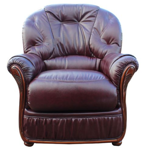 Debora Genuine Italian Sofa Armchair BurgUndy Leather