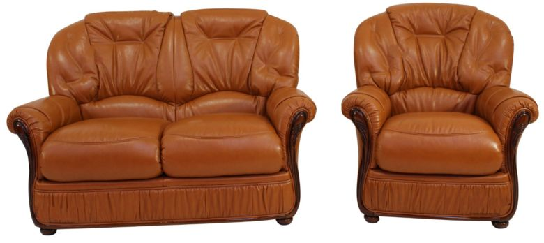 Indiana 2 Seater + Armchair Genuine Italian Tan Leather Sofa Suite Offer