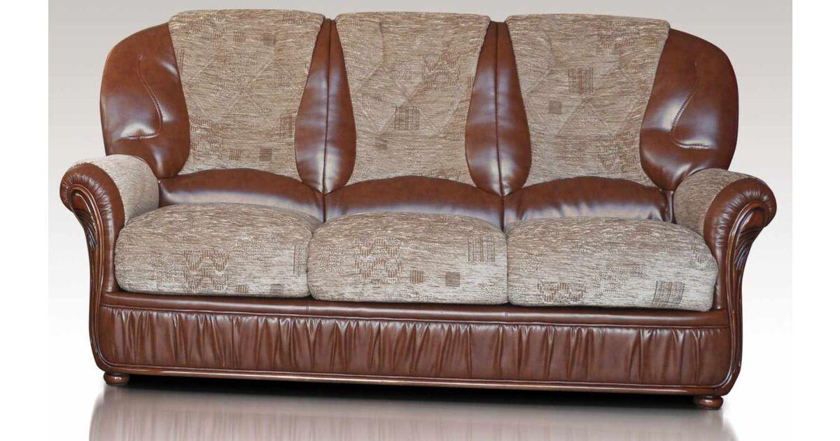 Kansas 3 Seater Genuine Italian Brown Leather Fabric Sofa Settee Offer,  Leather Sofas, Fabric Sofas