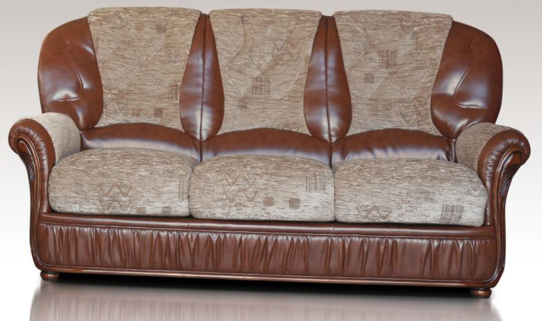 Kansas 3 Seater Genuine Italian Brown Leather Fabric Sofa Settee Offer