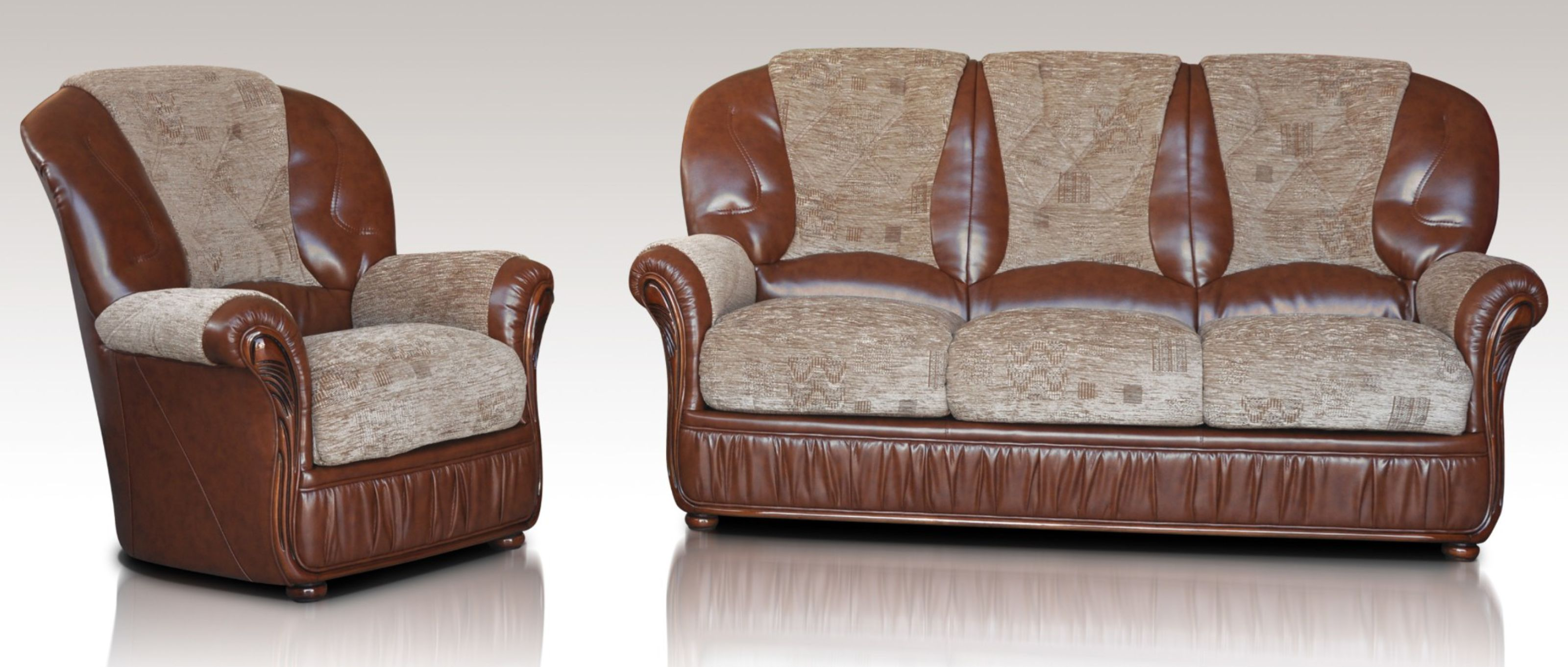 - Kansas 3+1+1 Genuine Italian Brown Leather Fabric Sofa Suite Offer