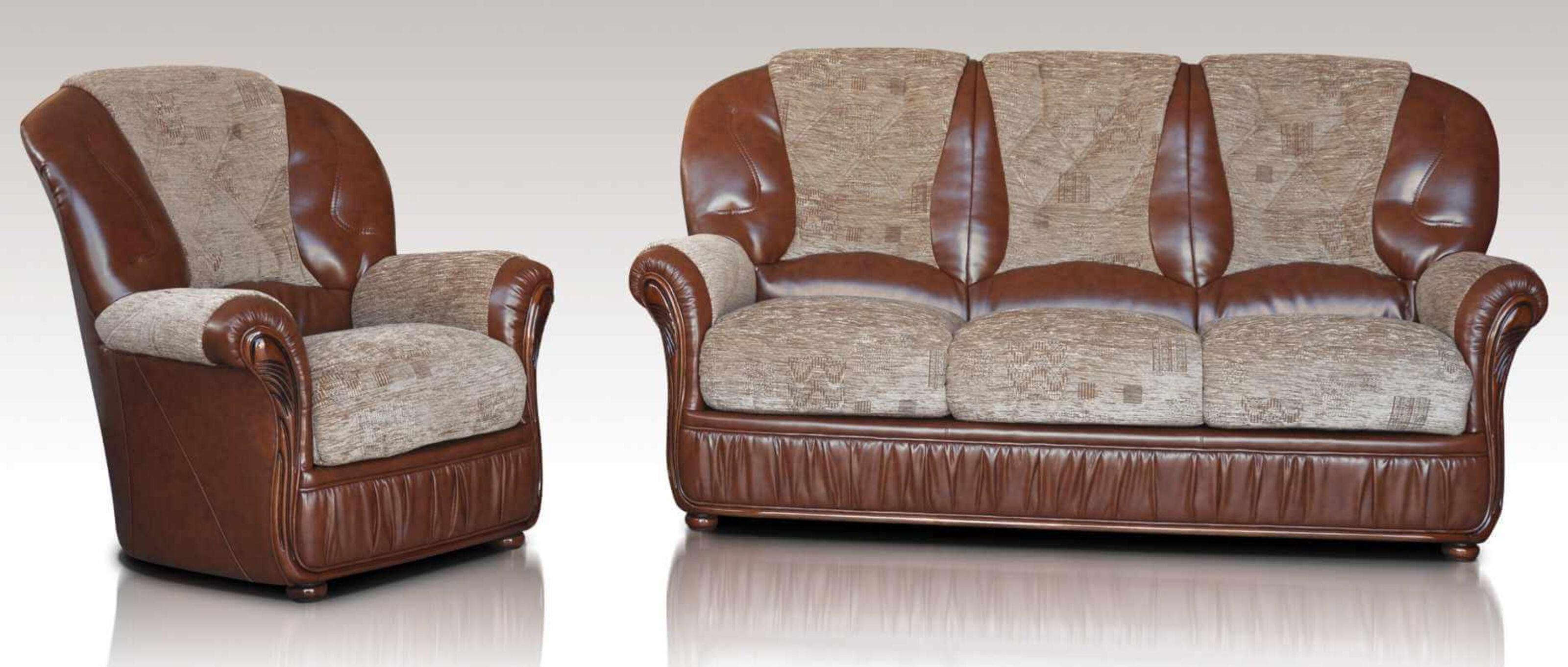 Emma 3+1 Genuine Italian Brown Leather Fabric Sofa Suite Offer