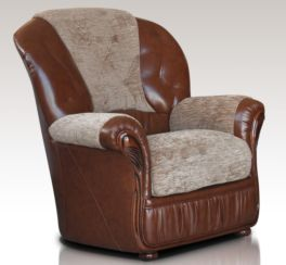 Emma Armchair Genuine Italian Brown Leather Fabric Sofa Offer