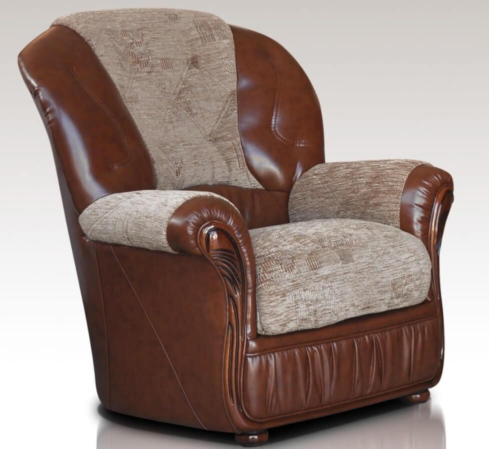 Incredible Kansas Armchair Genuine Italian Brown Leather Fabric Sofa Offer Theyellowbook Wood Chair Design Ideas Theyellowbookinfo