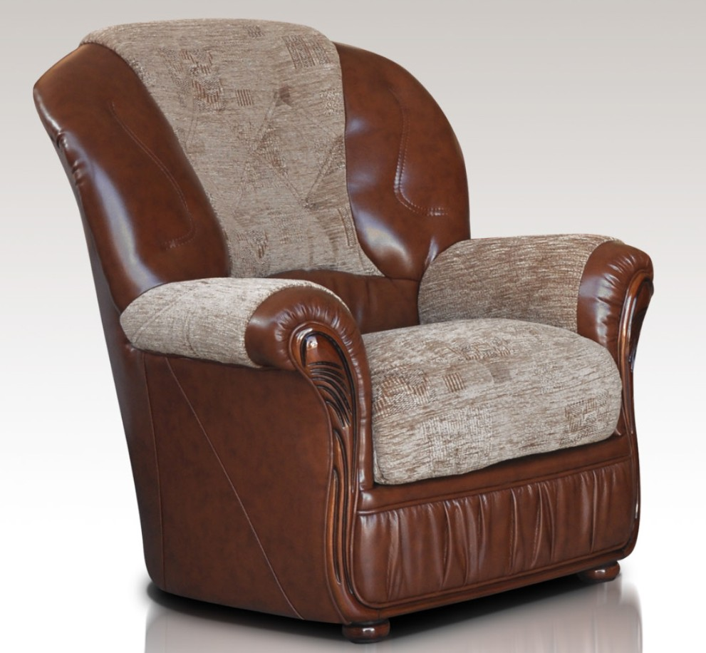 Emma Armchair Genuine Italian Brown Leather Fabric Sofa ...