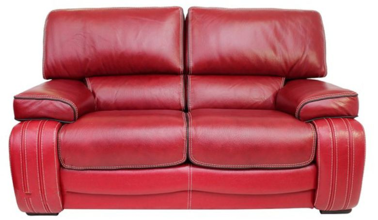Livorno 2 Seater Genuine Italian Red Leather Sofa Settee Offer