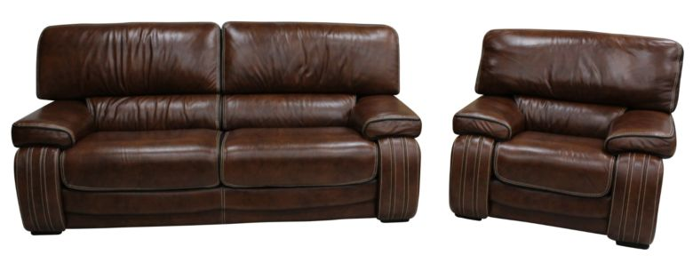 Livorno 3 Seater + 1 Seater Genuine Italian Brown Tabak Leather Sofa Suite Offer